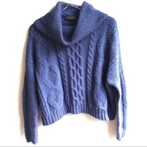 Wooden Ships Blue Chunky Cable Cropped Sweater S/M